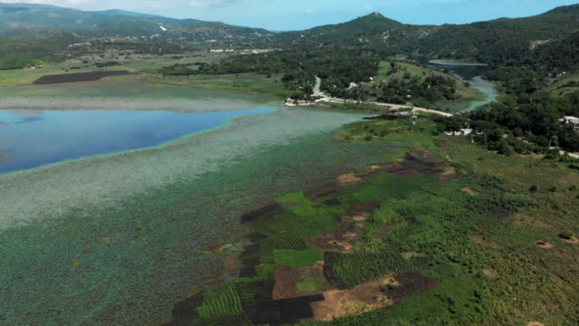 aerial view lake azuei & surrounding landscape in haiti - patchwork landscape stock videos and b-roll footage