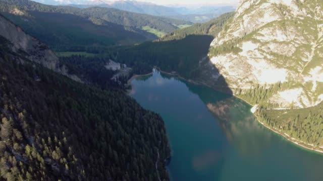 Aerial view lake braies italy
