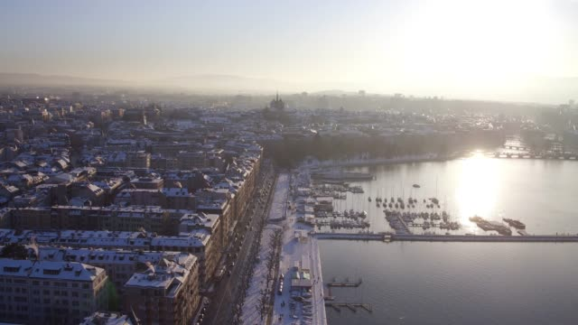 aerial view lake Geneva after snow in winter
