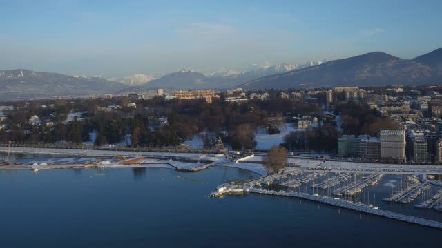 aerial view lake geneva after snow in winter - lake geneva stock videos & royalty-free footage
