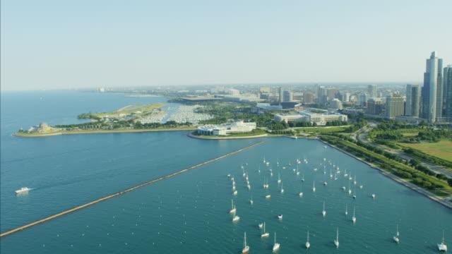 aerial view lake michigan waterfront adler planetarium chicago - red lake stock videos & royalty-free footage