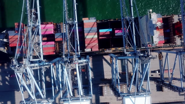 aerial view  large container ship - harbour stock videos & royalty-free footage