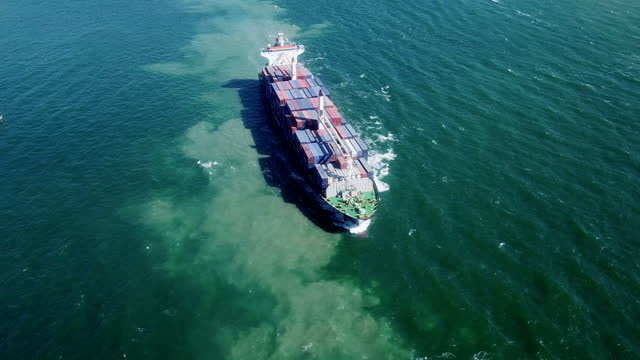 aerial view  large container ship - persian gulf stock videos & royalty-free footage