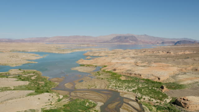 aerial view las vegas wash scenic desert valley - lake mead video stock e b–roll