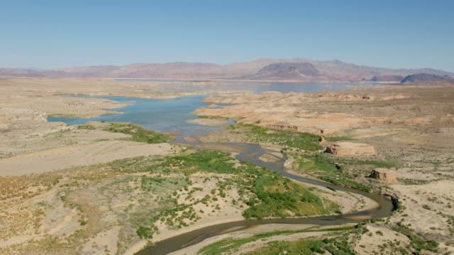 aerial view las vegas wash scenic desert wilderness - lake mead video stock e b–roll