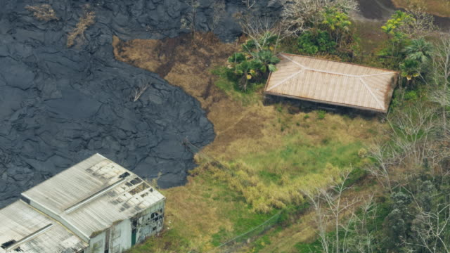 aerial view lava cool rock crushed property hawaii - modern rock stock videos & royalty-free footage
