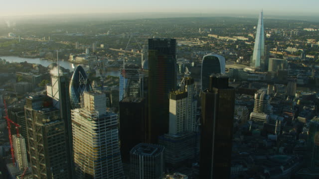 aerial view london skyscrapers and cityscape at sunrise - tower bridge stock videos & royalty-free footage