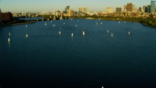 Aerial view Longfellow bridge Charles river Boston Massachusetts