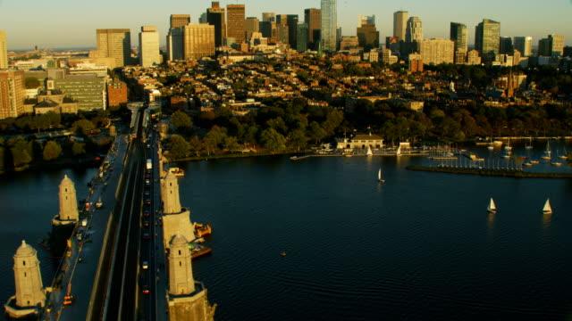 aerial view longfellow bridge charles river boston massachusetts - longfellow bridge stock videos and b-roll footage