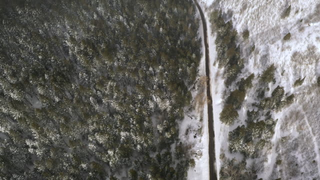 aerial view looking down at road cutting through winter landscape - american fork city stock videos & royalty-free footage