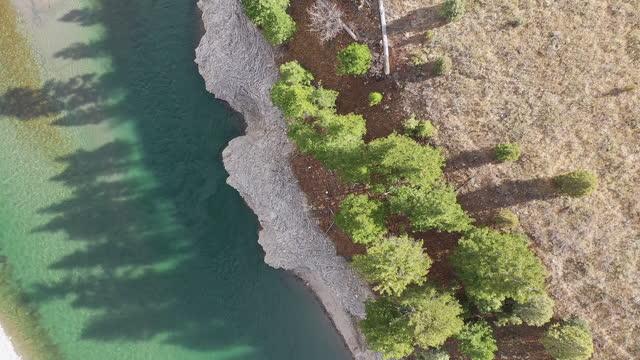 vídeos y material grabado en eventos de stock de aerial view looking down at tree shadows on the snake river - río snake