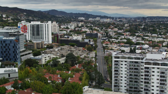 aerial view looking east from west hollywood - west hollywood stock videos & royalty-free footage