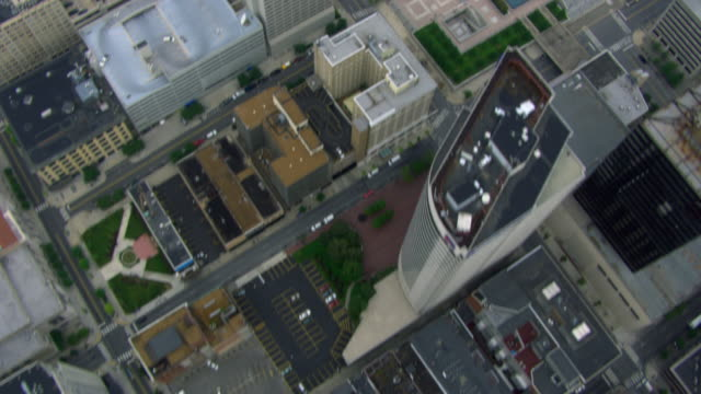 aerial view looking straight down at downtown nashville, tennessee, united states of america. - human settlement stock videos & royalty-free footage