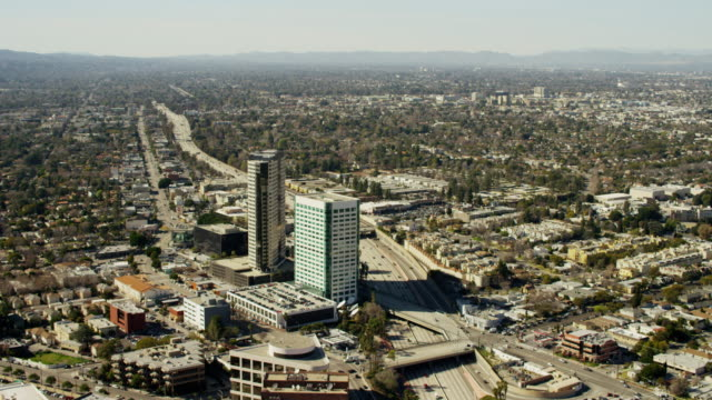 aerial view los angeles cityscape skyscrapers california usa - burbank stock-videos und b-roll-filmmaterial