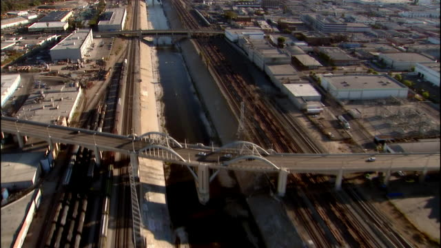 aerial view los angeles river / los angeles, california - water pollution stock videos & royalty-free footage