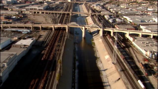 aerial view los angeles river / los angeles, california - graffiti stock videos & royalty-free footage