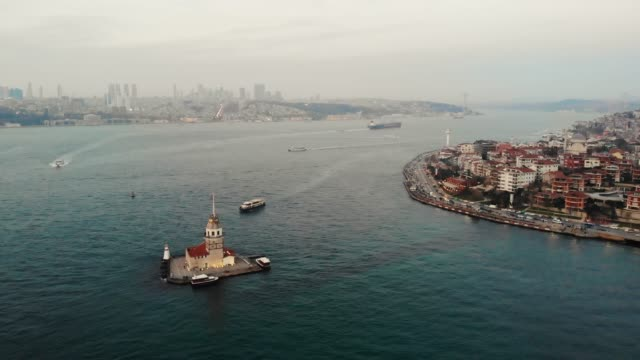 aerial view maiden's tower ( kiz kulesi ) istanbul - ozgurdonmaz stock videos and b-roll footage