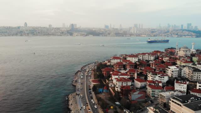 aerial view maiden's tower ( kiz kulesi ) istanbul - nautical vessel stock videos & royalty-free footage