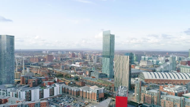 aerial view manchester beetham tower descending drone shot - flat stock videos & royalty-free footage