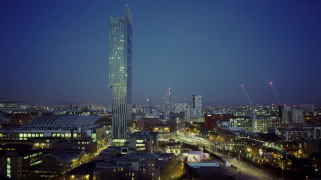 aerial view, manchester skyline at night - manchester england stock videos and b-roll footage