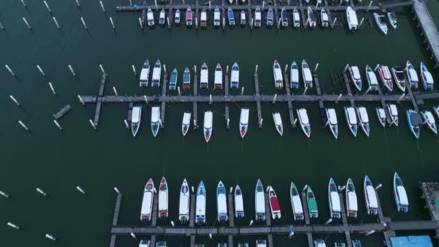 aerial view marina yacht - marina stock videos & royalty-free footage