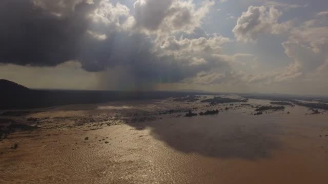Aerial view Mekong River, Laos