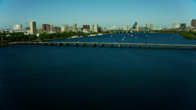 aerial view memorial bridge river great dome boston - massachusetts stock videos & royalty-free footage