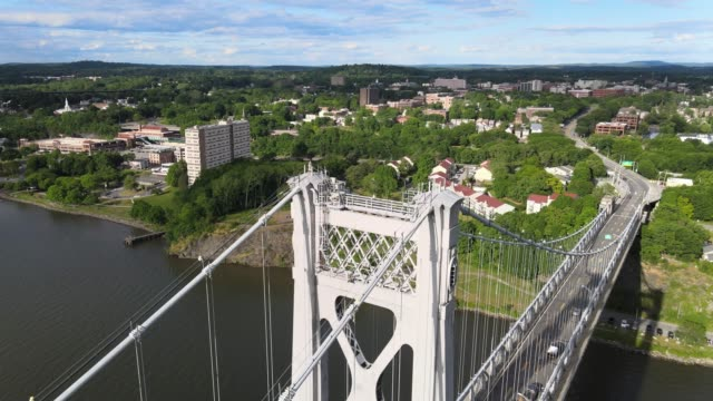 aerial view mid hudson bridge 360 view around tower - river hudson stock videos & royalty-free footage