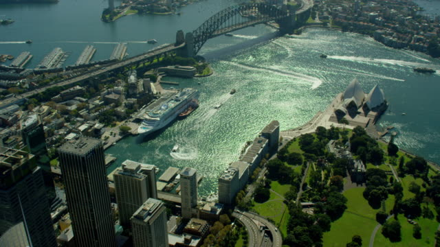 Aerial view Millers Point and Sydney water traffic
