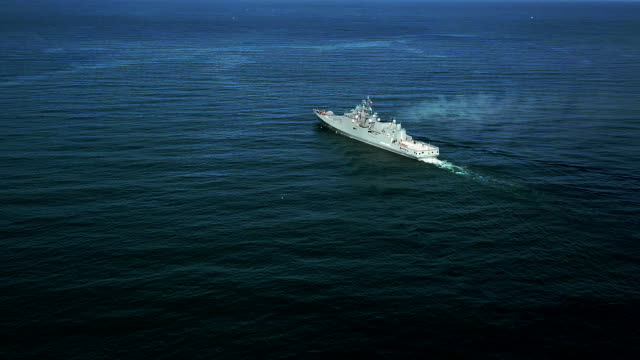 aerial view - missile frigate at sea - warship stock videos & royalty-free footage