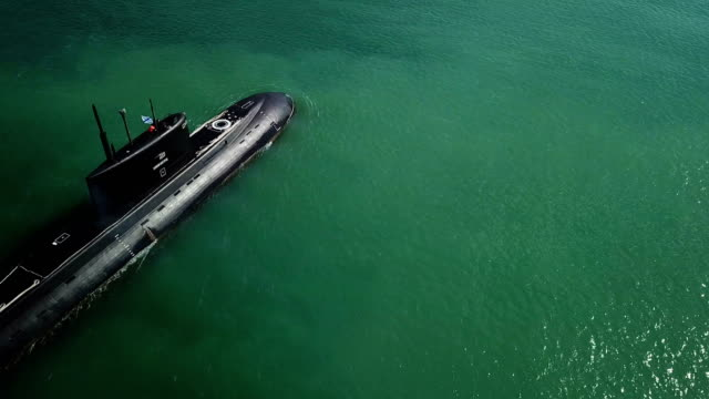 aerial view - missile submarine in combat campaign - submarine stock videos and b-roll footage