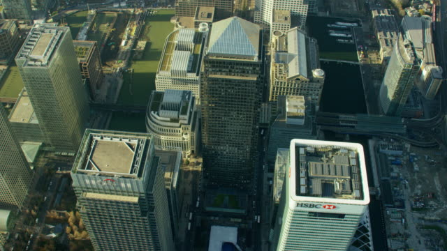 aerial view modern architecture skyscrapers in london uk - canary wharf stock videos & royalty-free footage