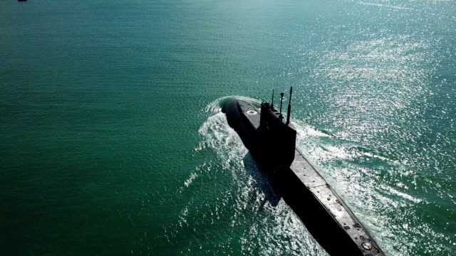 aerial view - modern missile submarine - warship stock videos & royalty-free footage