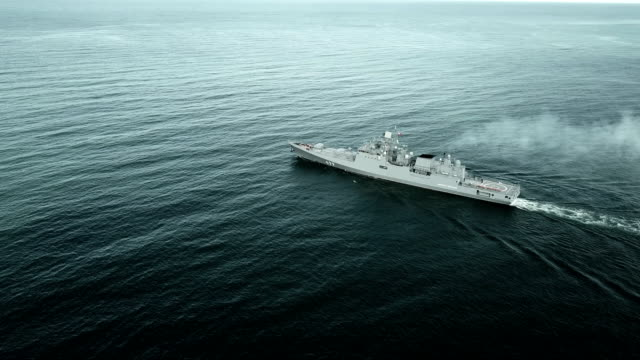 aerial view - modern warship on the high seas - military ship stock videos & royalty-free footage
