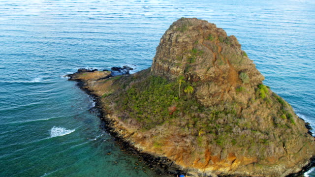 Aerial view Mokolii Chinaman's Hat Kualoa Point Hawaii
