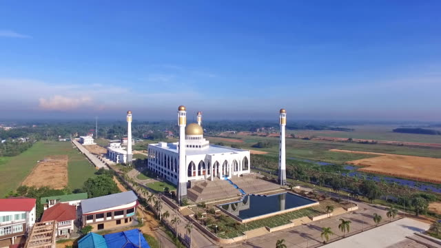 aerial view mosque - songkhla province stock videos and b-roll footage