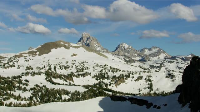 aerial view mount moran yellowstone national park usa - mt moran stock videos & royalty-free footage