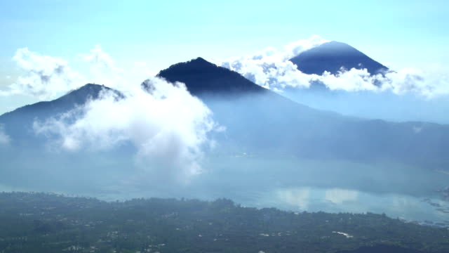 aerial view mt abang mt agung volcano bali - indonesia stock-videos und b-roll-filmmaterial