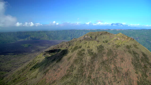 aerial view mt batur mountain caldera volcano bali - volcanic crater stock videos & royalty-free footage