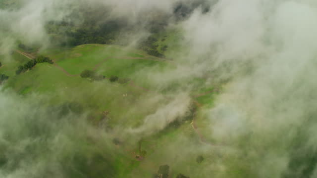 Aerial view Mt Diablo State Park clouds California