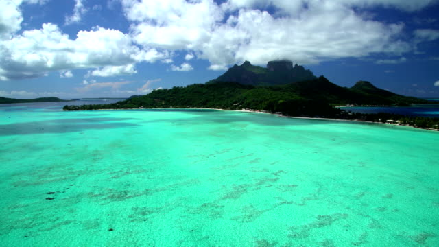 aerial view mt otemanu bora bora south pacific - bora bora stock videos and b-roll footage