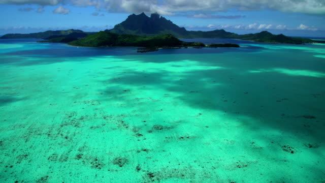 aerial view mt otemanu mount pahia bora bora - polynesian ethnicity stock videos & royalty-free footage