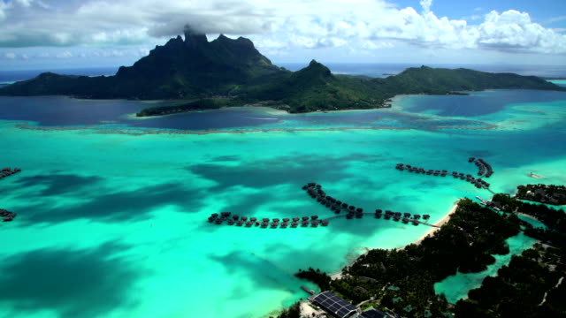 aerial view mt otemanu mount pahia bora bora - bora bora aerial stock videos and b-roll footage