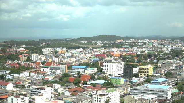 ้aerial view: mueang songkhla district - songkhla province stock videos and b-roll footage