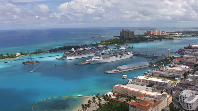 aerial view nassau cruise ship terminal bahamas - bahamas stock videos & royalty-free footage