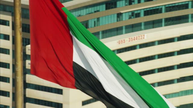 Aerial view National Flag flying Pole Dubai City