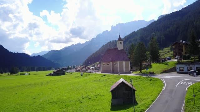 aerial view near possa di fassa, val di fassa, province of trento, italy, europe - val di fassa stock videos and b-roll footage