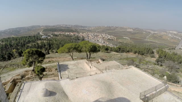 aerial view, nebi samuel national park, the traditional burial site of the biblical hebrew prophet samuel - ramallah stock videos and b-roll footage