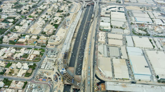 Aerial view new road intersection Metro rail UAE