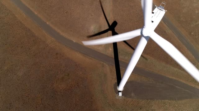 Aerial view next to a windmill in the countryside of Ellensburg Washington